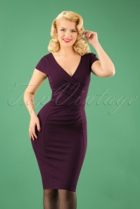 50s Brenda Pencil Dress in Aubergine