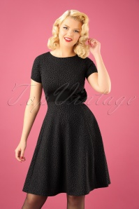 50s Vickie Leopard Blister Swing Dress in Grey