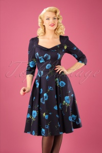 50s Melody Roses Swing Dress in Blue
