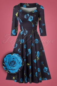 Hearts & Roses Black and Blue Roses Swing Dress 102 14 22770 20171010 0009wv