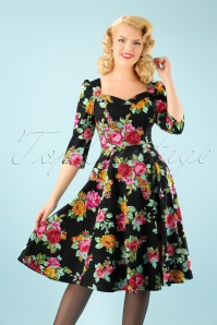 50s Zena Floral Swing Dress in Black