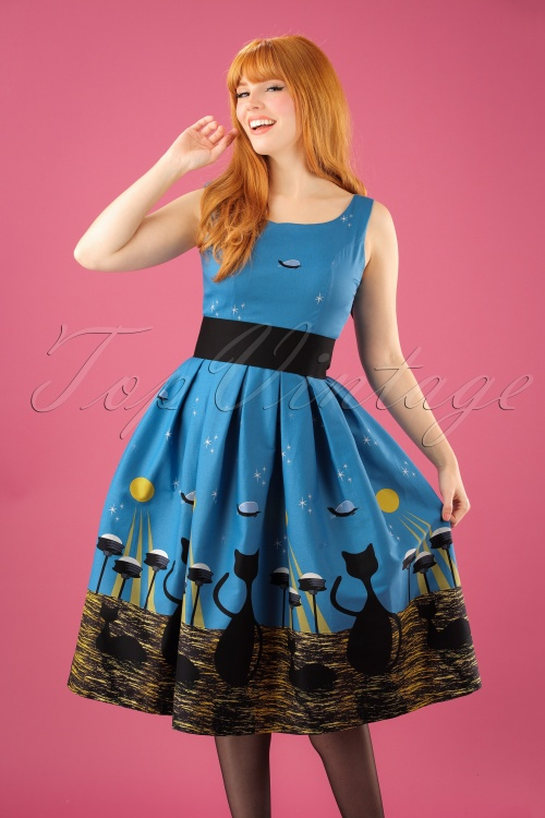 50s Lana Space Cat Swing Dress in Blue