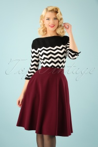 Beverly High Waist Swing Skirt Années 50 en Bordeaux