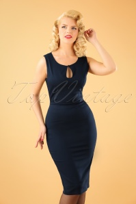 60s Beth Pencil Dress in Midnight Blue