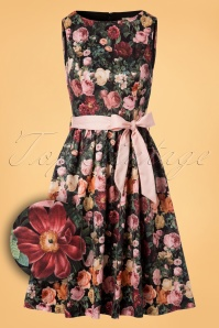 50s Audrey Swing Dress in Rose Bush