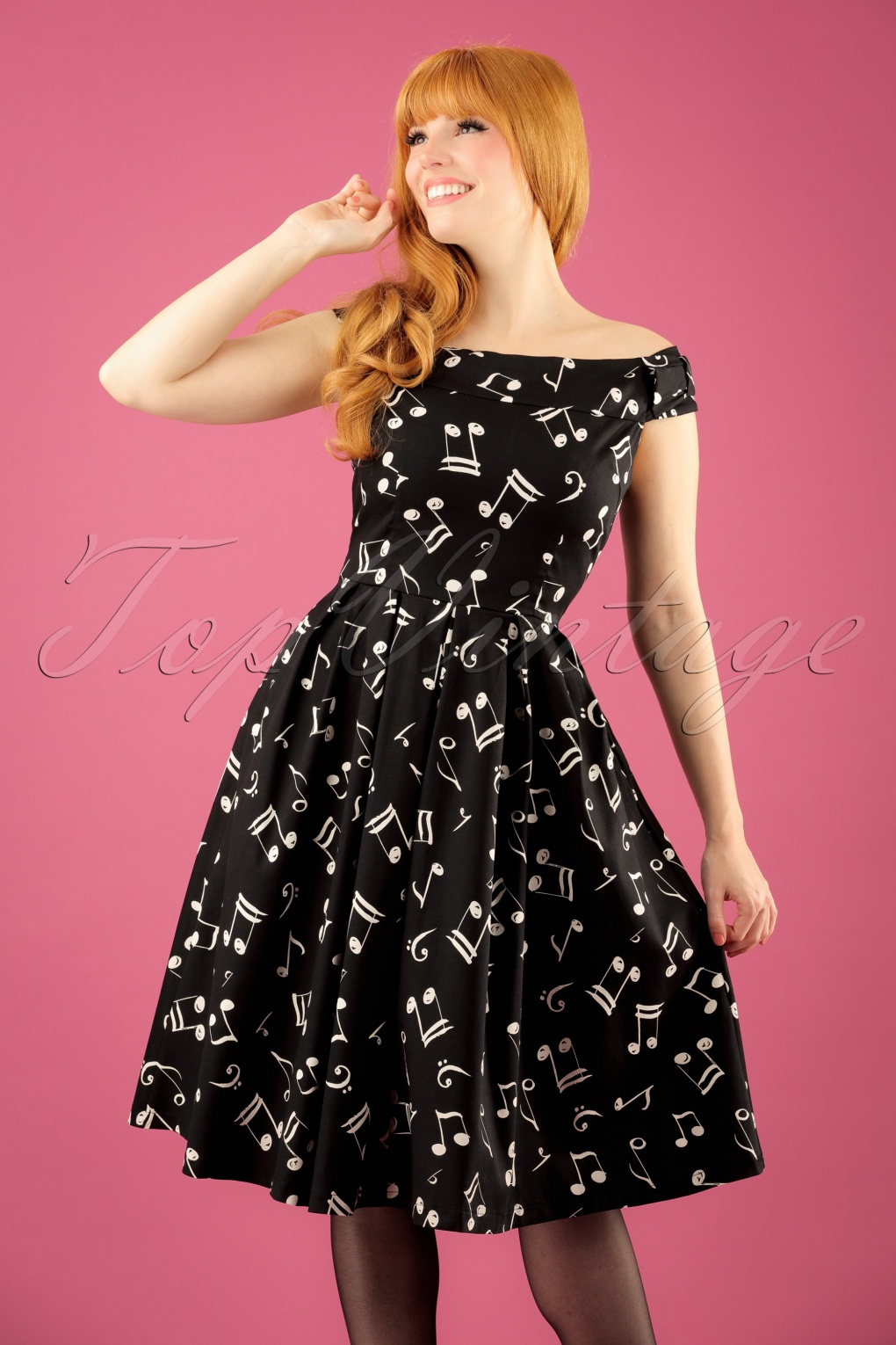 50s Christie Music Notes Swing Dress In Black