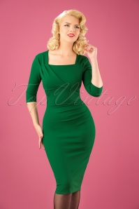 50s Rhonda Pleated Pencil Dress in Emerald Green