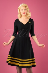 50s Flutter Moth Swing Dress in Black