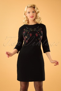 Emmy Embroidered Dress Années 60 en Noir