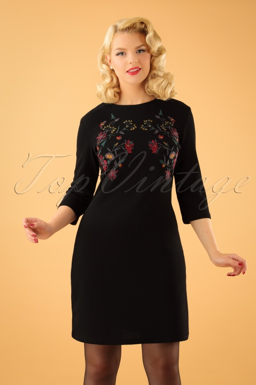 Vintage Chic 60s Floral Black Dress 106 10 23175 20170920 1W