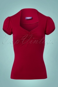 50s Donna Top in Winter Red