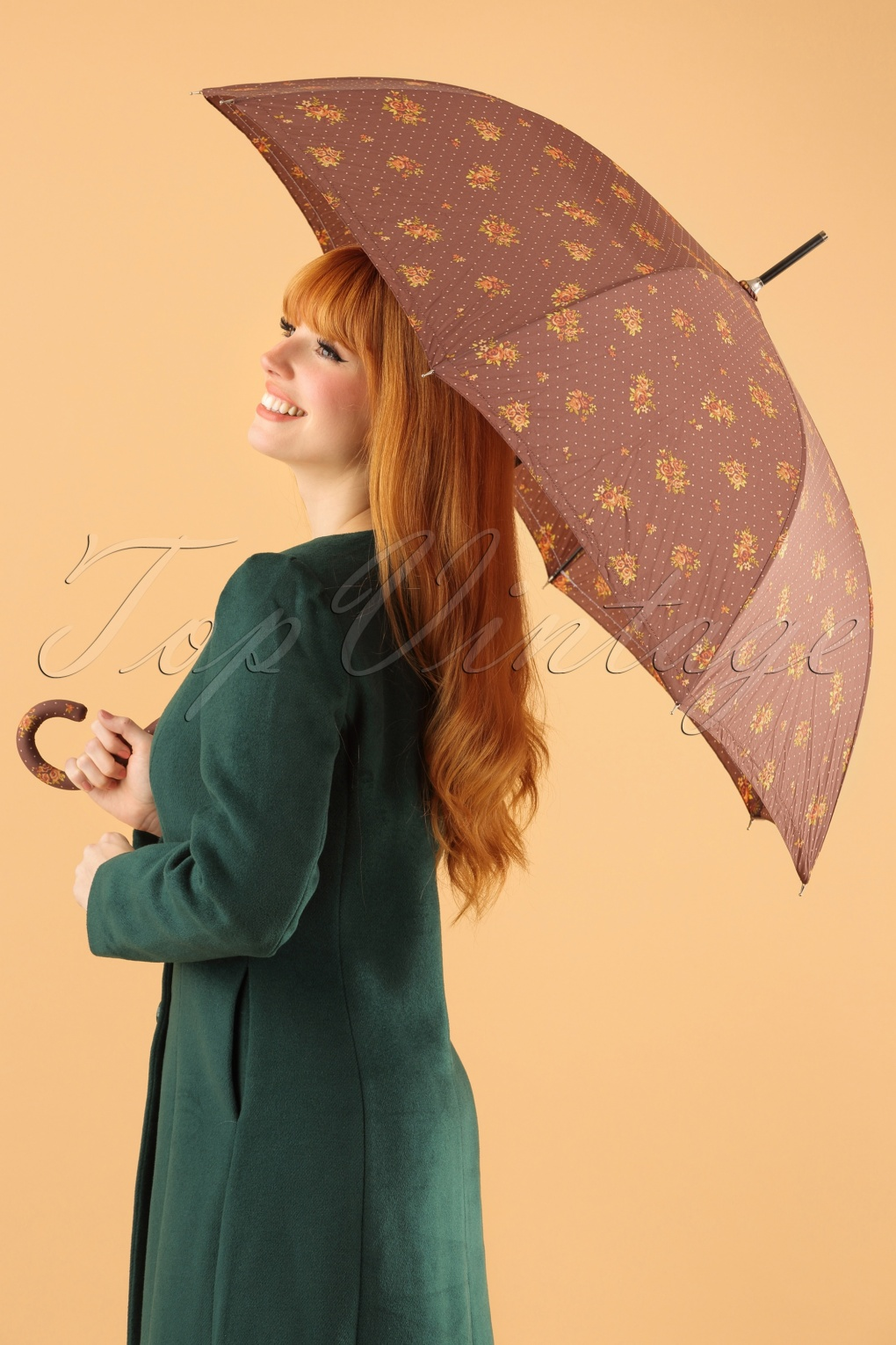 1960s Inspired Fashion: Recreate the Look 60s Retro Floral Umbrella in Bown £13.21 AT vintagedancer.com
