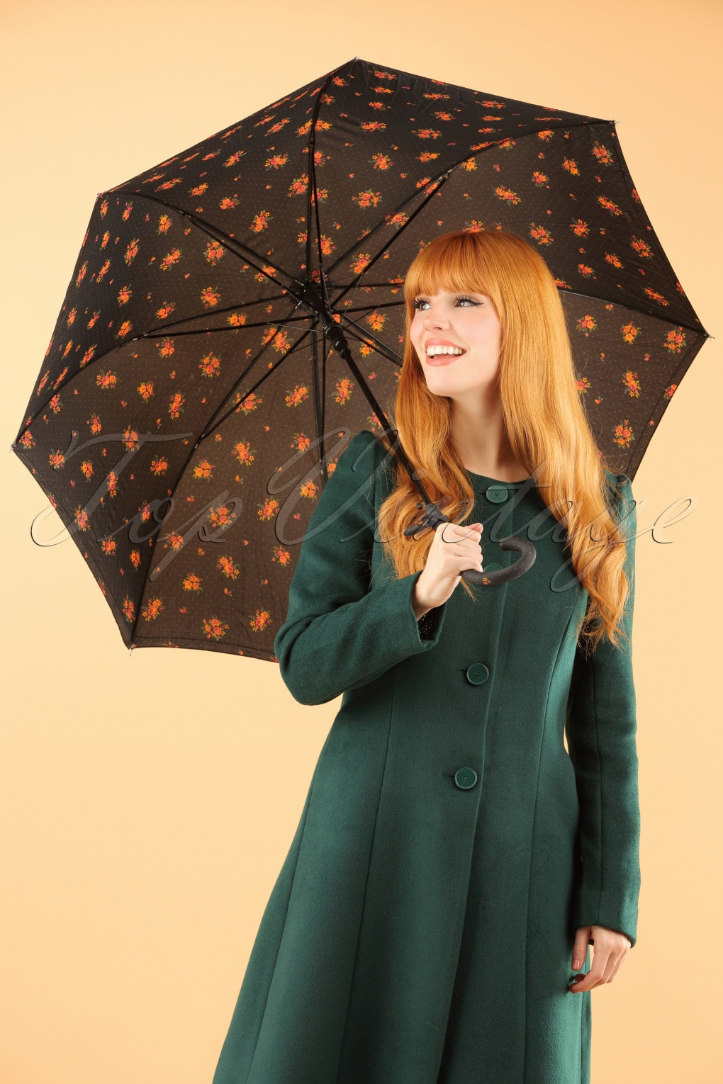 1960s Inspired Fashion: Recreate the Look 60s Retro Floral Umbrella in Black £13.21 AT vintagedancer.com