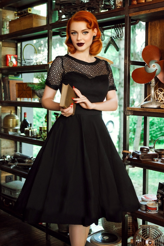 1950s Dresses, 50s Dresses | Swing, Wiggle, Pin Up Dresses 50s Tess Embroidered Swing Dress in Black £61.83 AT vintagedancer.com