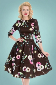 Hearts and Roses Brown Floral Swing Dress 102 79 22738 20171102 0019