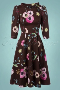 Hearts and Roses Brown Floral Swing Dress 102 79 22738 20171102 0008W