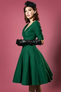 Unique Vintage 50s Delores Swing Dress in Emerald Green