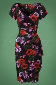 50s Elsie Poppy Perfection Pencil Dress in Black