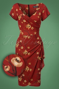 50s Elsie Akura Branch Pencil Dress in Rust Red