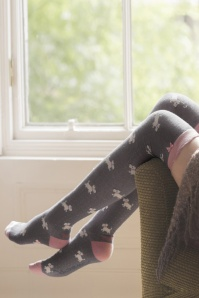 60s Westie Overknee Socks in Light Charcoal