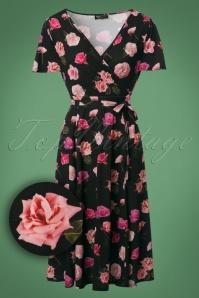 50s Lyra Pretty Pink Swing Dress in Dark Green