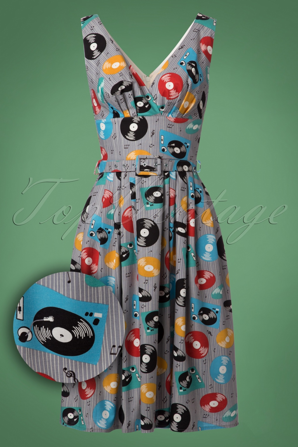 Pin Up Dresses | Pin Up Clothing 50s Frida Records Swing Dress in Grey £110.44 AT vintagedancer.com