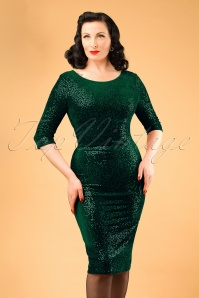 50s Twinkle Sequin Pencil Dress in Green