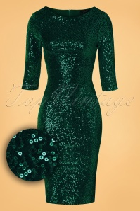 Vintage Chic Bodycon Dress Green Velvet Sequins Dress 23915 20161010 0006WV
