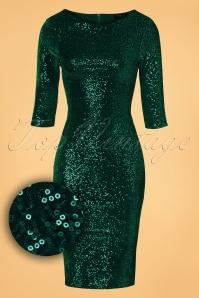 Vintage Chic Bodycon Dress Green Velvet Sequins Dress 23915 20161010 0006WV