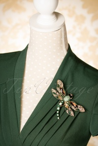 Foxy Imperial Dragonfly Hair Clip and Brooch Années 20 en Doré