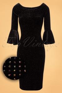 70s Whitney Velvet Pencil Dress in Black