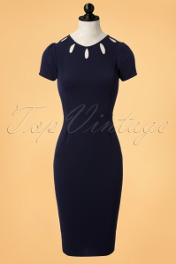 Vintage Chic Barbara Blue Keyhole Pencil Dress 100 31 24015 20171106 0002pop