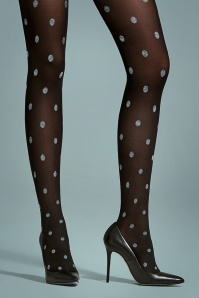 50s Julia Polkadot Tights in Black