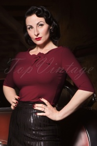 Heart of Haute 50s Lily Bow Top in Burgundy
