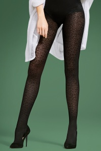 50s Julie Leopard Tights in Black