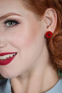 Erstwilder 60s Poppy Flower Earrings in Red 339 20 23922 03
