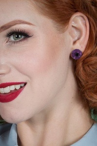 Erstwilder 60s Poppy Flower Earrings in Purple 339 60 23923 03