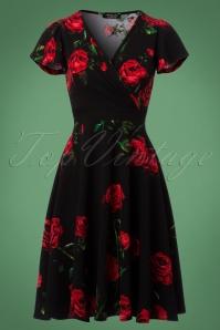 40s Ruby Roses Butterfly Sleeve Swing Dress in Black