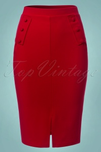 Vintage Chic Flap Button Red Pencil Skirt 120 20 22747 20171107 0002W