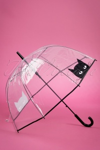 So Rainy 50s Black Cat Dome Umbrella