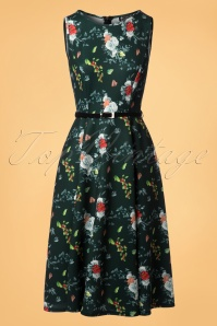 50s Hepburn Roses Pomegranate Buds Swing Dress in Green