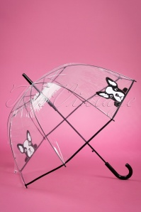 So Rainy It's Raining French Bulldogs Transparent Dome Umbrella Années 50
