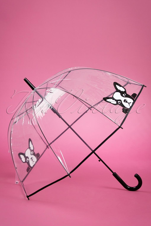 Vintage Style Parasols and Umbrellas 50s Its Raining French Bulldogs Transparent Dome Umbrella £15.74 AT vintagedancer.com