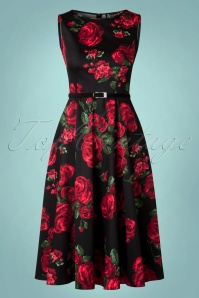 50s Hepburn Red Rose Dress in Black
