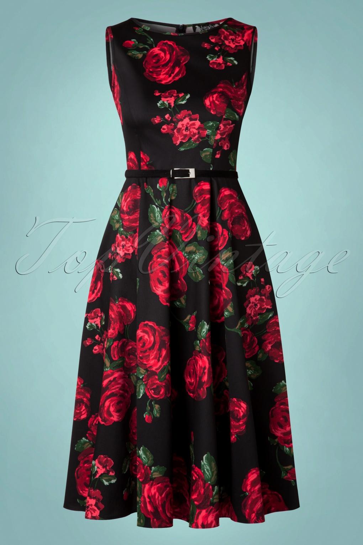 50s Hepburn Red Rose Dress In Black