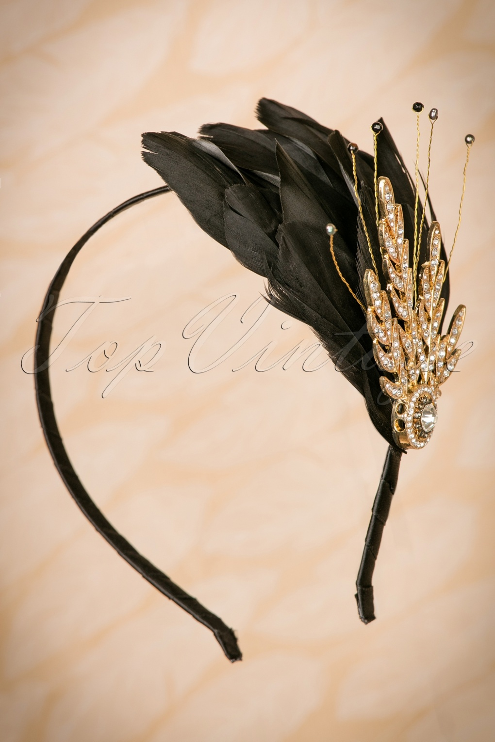 1920s Gatsby Jewelry- Flapper Earrings, Necklaces, Bracelets 20s Verity Crystal and Feather Hairband in Black and Gold £31.04 AT vintagedancer.com