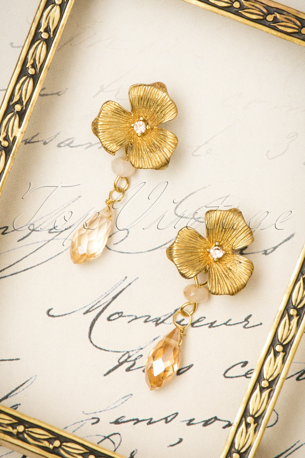 1920s Gatsby Jewelry- Flapper Earrings, Necklaces, Bracelets 20s Honey Rose Drop Earrings in Gold £11.61 AT vintagedancer.com