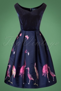 50s Princess Liz Flamingo Swing Dress in Navy