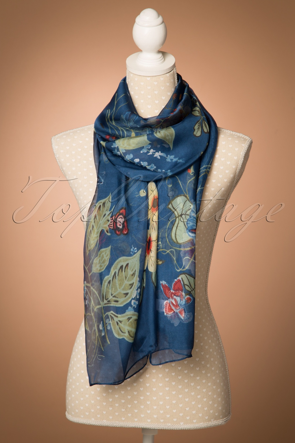 Vintage Scarf Styles -1920s to 1960s 60s Flowers and Leaves Around Me Scarf in Navy £13.44 AT vintagedancer.com