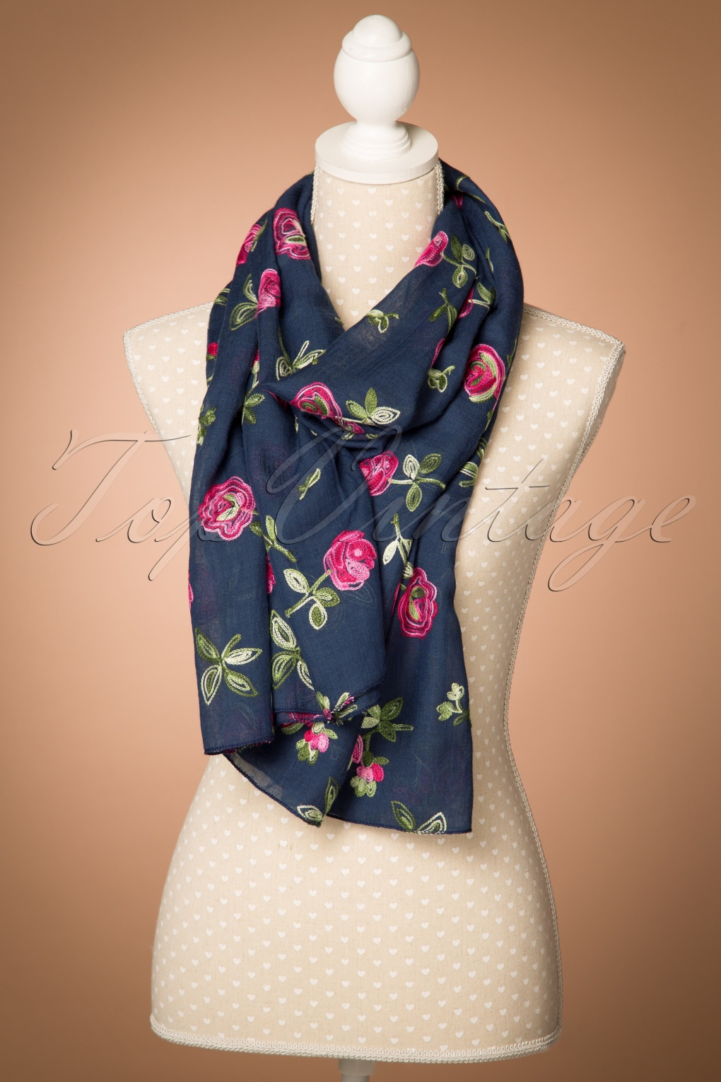 Vintage Scarf Styles -1920s to 1960s 60s Roses Around Me Scarf in Navy £13.44 AT vintagedancer.com